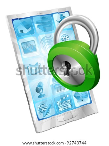 Lock icon coming out of phone screen concept - stock photo