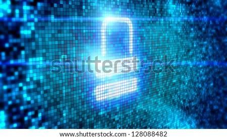 Lock icon digital style - stock photo