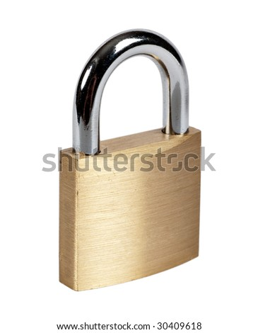 Lock isolated on white - stock photo