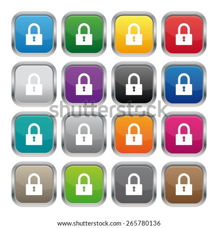 Lock metallic square buttons - stock photo
