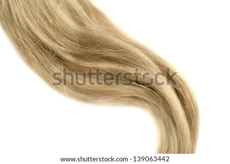 lock of blond hair over white background, isolated