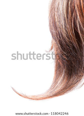 Lock of wig isolated on white