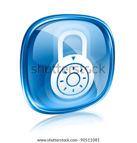 Lock off, icon blue glass, isolated on white background. - stock photo