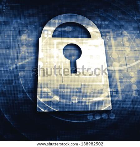 Lock on digital screen - stock photo