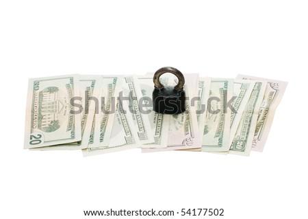lock on money isolated on white - stock photo