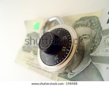Lock on the money - stock photo