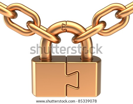 Lock padlock closed with chain colored golden. Security password hold concept. Puzzle link secret code encryption abstract. Detailed 3d render. Isolated on white background - stock photo
