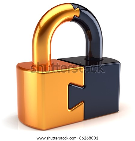 Lock padlock security password safeguard. Closed puzzle link secret code encryption colored golden black parts. System access icon concept. Detailed 3d render. Isolated on white background - stock photo