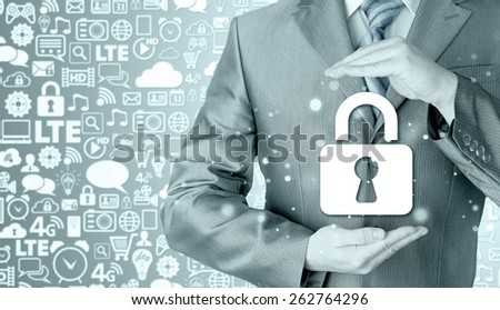 lock security businessman protect concept
