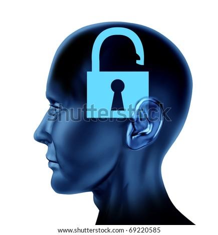 lock un-locked open secrets symbol Brain mind head idea intelligence isolated - stock photo