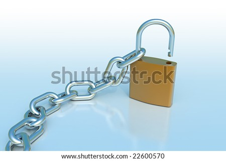 Lock with chain - stock photo