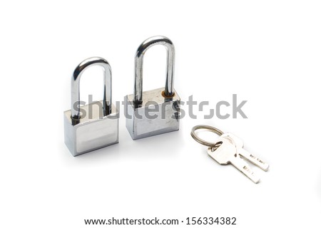 lock with keys isolated on white background,twin