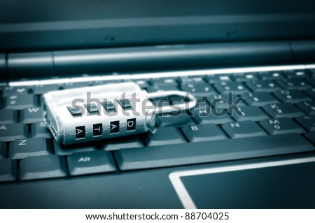 lock with password on a computer keyboard - stock photo