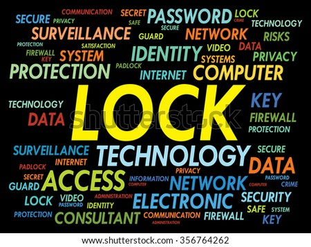 LOCK word cloud, security concept