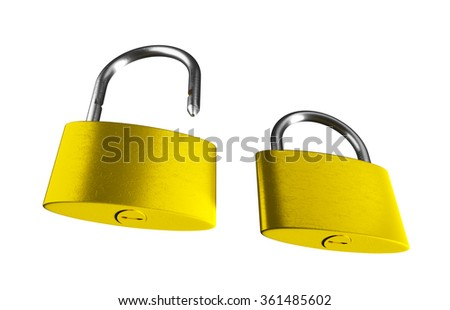 Locked and unlocked golden padlocks isolated on the white background. 3D render image.