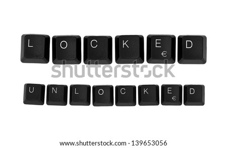 LOCKED and UNLOCKED sign written on a keyboard. Isolated on a white background.