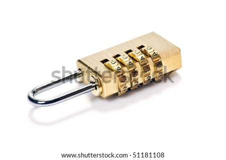 locked code-lock as  security concept isolated on white - stock photo