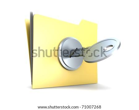 Locked Folder. 3D rendered Illustration. Isolated on white. - stock photo