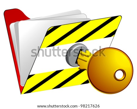 locked folder icon against white background, abstract art illustrator - stock photo
