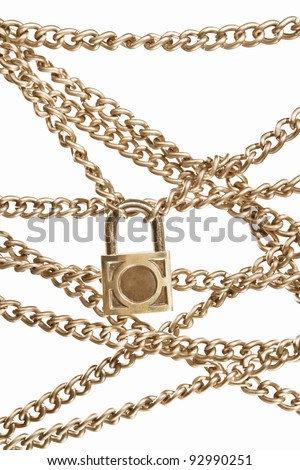 Locked golden chain, isolated against white background