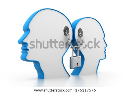 Locked mind - stock photo
