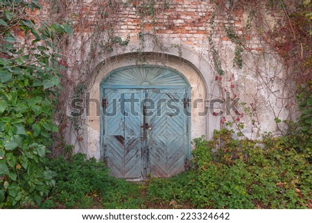 Marvelous Locked Old Wooden Door To A Mystic Cave