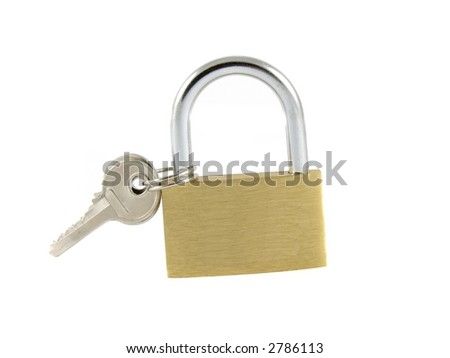 locked padlock with the key on it
