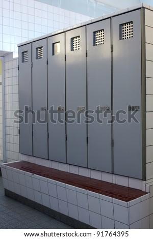 Locker in art nouveau style in public bath - stock photo