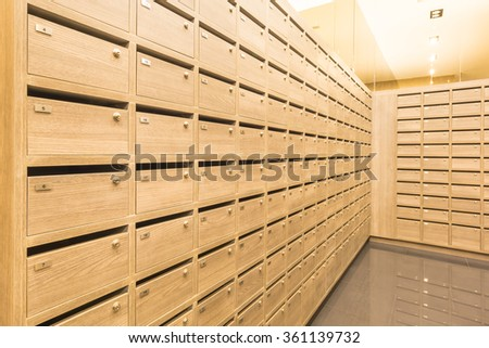 Locker wooden MailBoxes postal for keep your information, bills,postcard,mails etc - stock photo
