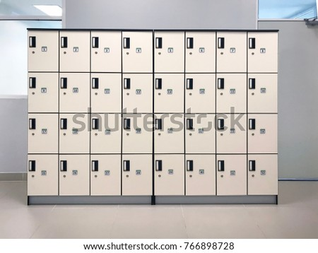 Lockers Cabinets Furniture In A Locker Room At School Or University For  Student.