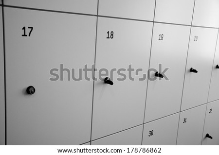 Lockers cabinets in a locker room at school or museum - stock photo