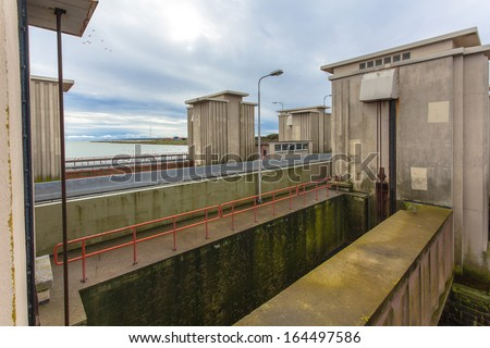 Locking Chamber in Afsluitdijk as part of Dutch Delta Works Water Management Security System - stock photo