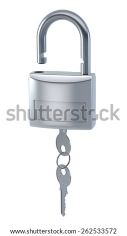locks with keys isolated on white with clipping path - stock photo