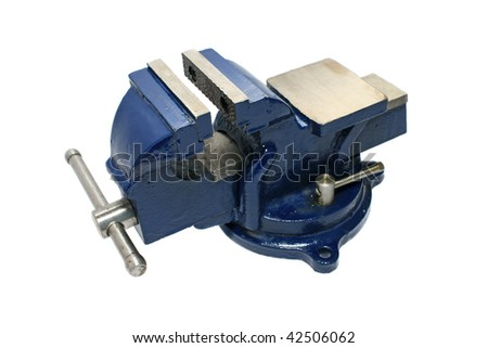 Locksmith vise. Close-up. Isolated on a white background.