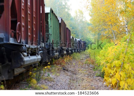 locomotive in the yellow foliage - stock photo