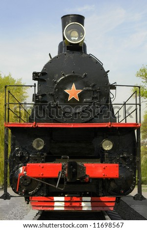 locomotive on a background of the sky