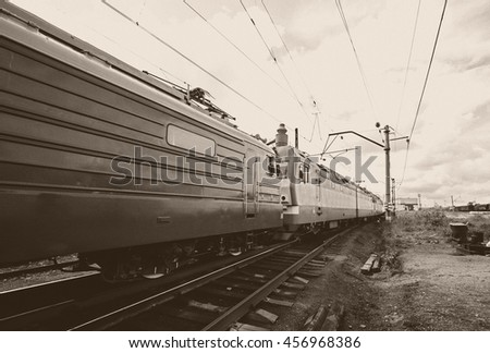 locomotive with freight cars