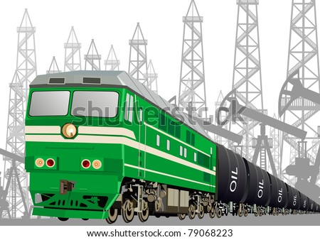 Locomotive with oil tankers to transport petroleum products against oil installations.