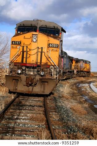 Locomotives sitting on a siding in Bliss, Idaho - stock photo