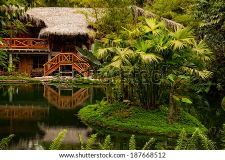Lodge in the middle of the amazonian jungle, National Park Yasuni - stock photo