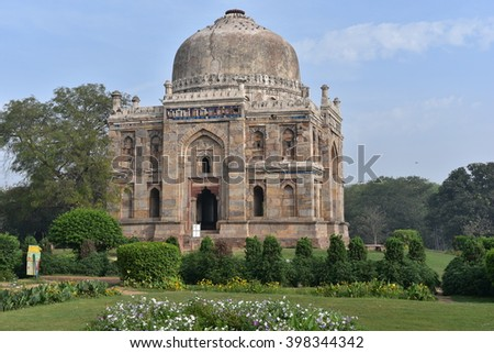 Lodhi Gardens, New Delhi, Shisha Gumbad or Dome, Ancient Mughal Architecture in India - stock photo