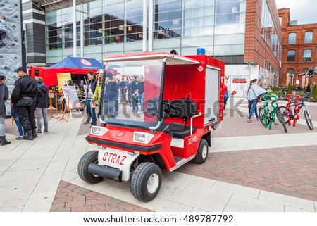 Lodz, Poland, September 24, 2016; Manufaktura, Firefighter Combat Challenge, tiny fire brigade truck