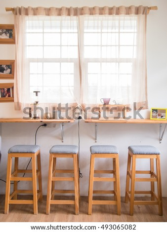 LOEI, THAILAND - SEPTEMBER 24, 2016: Interior and decoration of a coffee shop, cafe in Loei, thailand.