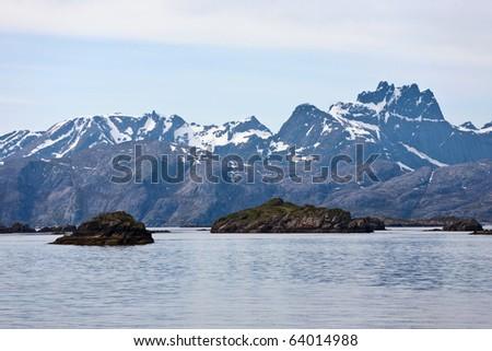 Lofoten a Norwegian coast landscape - stock photo