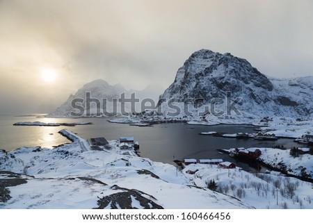 lofoten island during winter time - stock photo