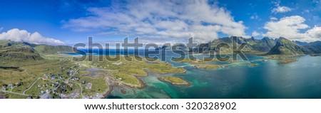 Lofoten islands in Norway, scenic aerial panorama - stock photo