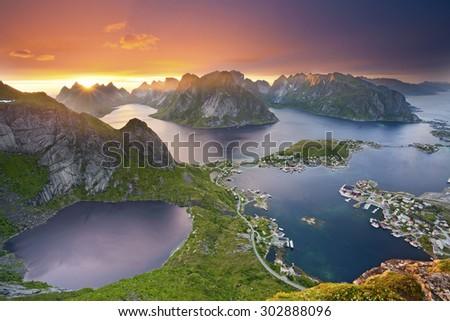 Lofoten Islands. View from Reinebringen at Lofoten Islands, located in Norway, during summer sunset. - stock photo