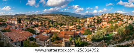 Lofou, a traditional mountain Cyprus village. Limassol District. Panorama - stock photo
