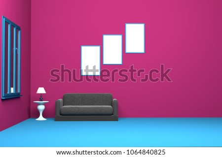 Loft Vintage Interior Living Room Stock Illustration 1064840825 ...