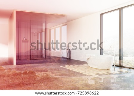 Loft Bathroom Interior Corner Shower White Stock Illustration ...